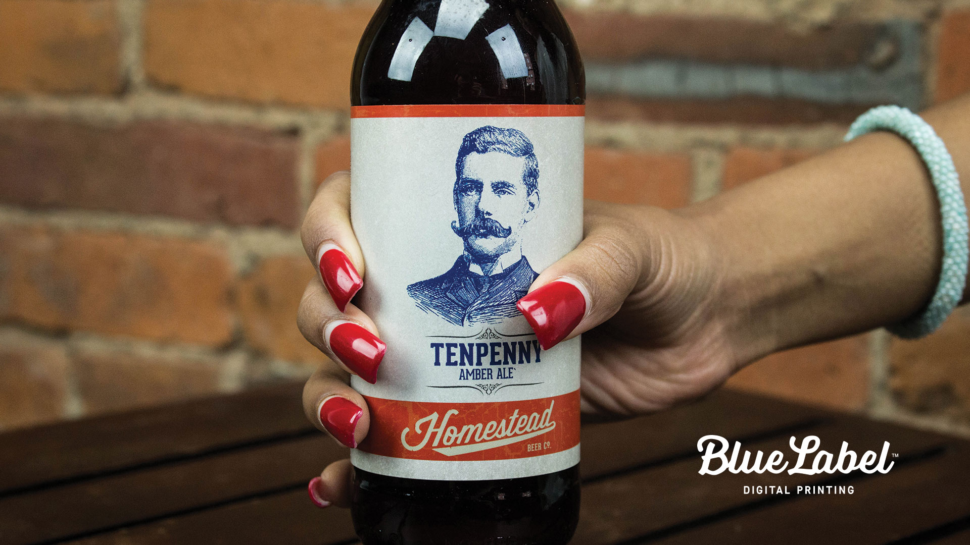 Bottle label featuring a hand-drawn illustration.